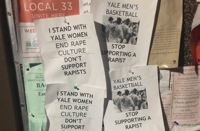 Illustration for article titled Posters on Yale Campus Allege Men's Basketball Team Is 'Supporting a Rapist'