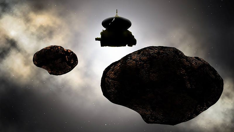 Artist's depiction of NASA's New Horizons spacecraft flying by the possible binary 2014 MU69. (Image: Carlos Hernandez)