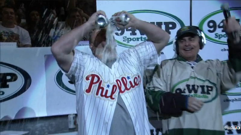 "Illustration for article titled ""Stone Cold"" Matt Stairs Chugs Beers At Wing Bowl"