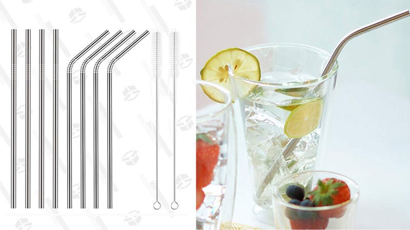 YIHONG Set of 8 Stainless Steel Metal Straws | $6 | Amazon | Clip the $2 coupon
