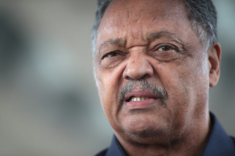 Reverend Jesse Jackson leads a small group from the Rainbow PUSH Coalition in a protest outside the United Airlines terminal at O'Hare International Airport on April 12, 2017 in Chicago, Illinois.