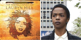 Cover of The Miseducation of Lauryn Hill (Flickr); Lauryn Hill in 2013 (Kena Betancur/Getty Images)