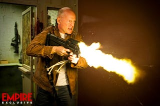 Illustration for article titled First Guns-Blazing Shot of Bruce Willis in Rian Johnson's Looper