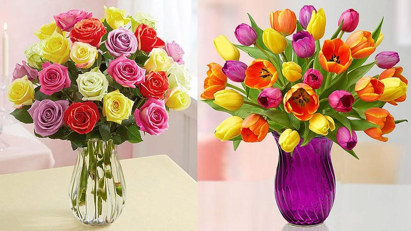 $35 24 Assorted Roses (no vase included), plus free shipping   1800Flowers$35 15 Assorted Tulips (clear vase included), plus free shipping   1800Flowers