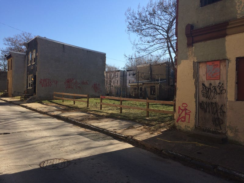 A block in the North Philadelphia neighborhood surrounding Vaux Big Picture High School in one of the city's most persistently poor areas