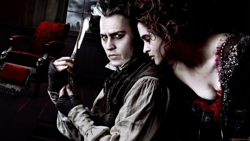 Illustration for article titled Johnny Depp kills 'em and Helena Bonham Carter grills 'em in Sweeney Todd