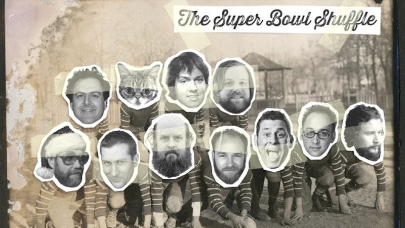 """Illustration for article titled Scott Aukerman, David Wain, Jim James, and Lil Bub recorded a new """"Super Bowl Shuffle"""" for charity"""