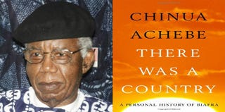 Nigerian writer Chinua Achebe (AFP); cover of his memoir, There Was a Country (Amazon.com)