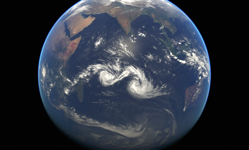 Illustration for article titled Two Cyclones Dance On The Indian Ocean