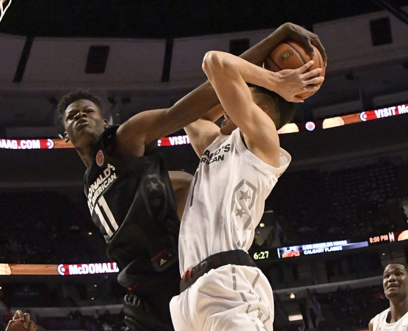 Mohamed Bamba, No. 11, of the boys' East team blocks Michael Porter Jr., No. 1, of the boys' West team during the 2017 McDonald's All-American Game on March 29, 2017, at the United Center in Chicago. (David Banks/Getty Images)