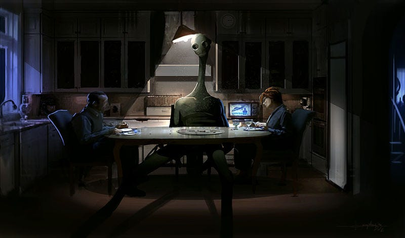 Illustration for article titled Concept Art Writing Prompt: The Alien at the Dinner Table (Redux)