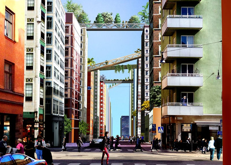 Illustration for article titled This Plan to Turn Stockholm Into a City Full of Sky Ways Looks Incredible