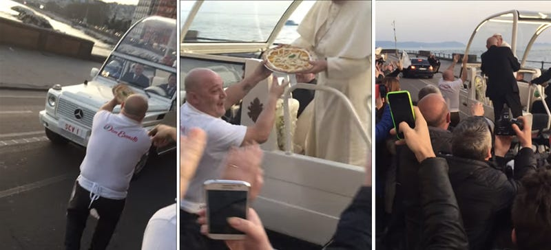Illustration for article titled Pope FrancisGets Pizza Delivered Straight To The Rolling Popemobile