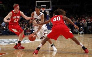 UConn's Maya Moore takes it to the hoop.