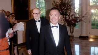 George Takei (right) and his husband, Brad Takei, arrive for the state dinner at the White House April 28, 2015, in honor of Japanese Prime Minister Shinzo Abe and wife, Akie Abe.Olivier Douliery/Getty Images