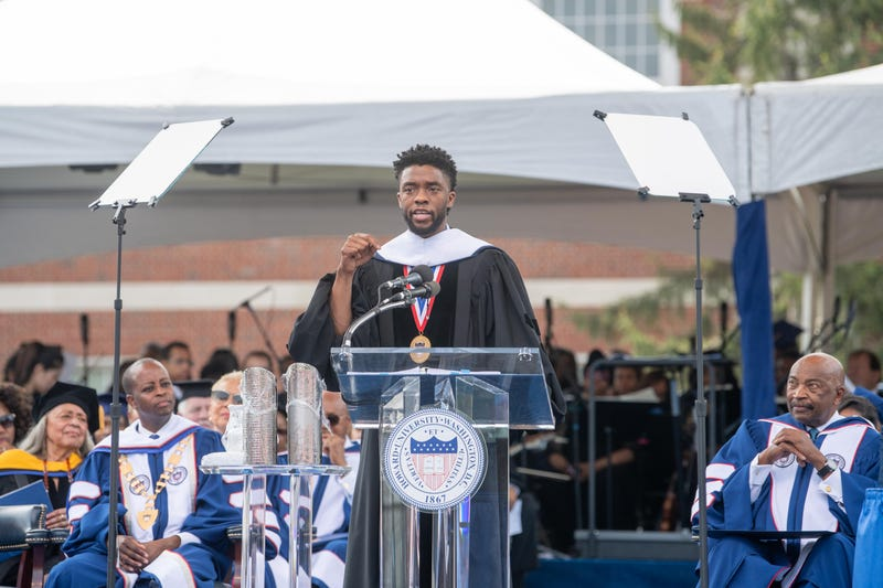 Alumnus Chadwick Boseman addresses the Class of 2018 during the Howard University 150th Commencement Ceremony on May 12, 2018, in Washington, D.C.