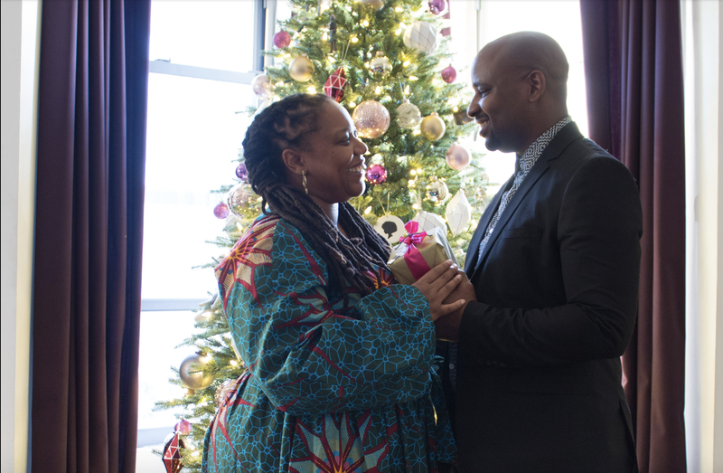 AphroChic's Jeanine Hays and Bryan Mason at home for the holidays (Chinasa Cooper for AphroChic)