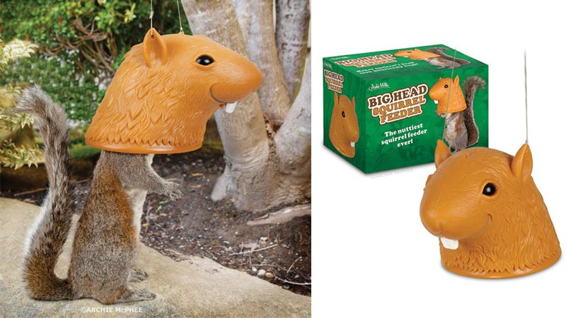 Illustration for article titled Humiliate Your Backyard Pests With This Giant Head Squirrel Feeder