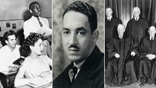 A black student in an integrated public school in 1954; Thurgood Marshall; clockwise from top left: JusticeTom Clark, Justice Robert H. Jackson, Justice Stanley Reed and Chief Justice Earl WarrenAFP Getty Images; Wikimedia Commons; Wikimedia Commons