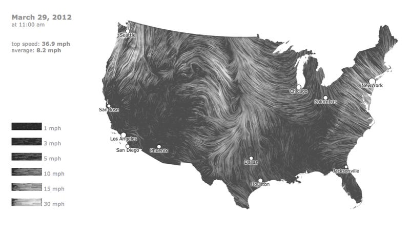 Illustration for article titled A mesmerizing, real-time map of US wind patterns