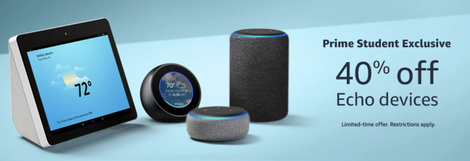 40% Off Echo Devices for Amazon Prime Students