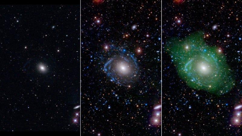 Galaxy UGC 1382 in optical (pane 1) ultraviolet (pane 2) and ultraviolet and radio (pane 3) views. Image: NASA/JPL/Caltech/SDSS/NRAO/L. Hagen and M. Seibert
