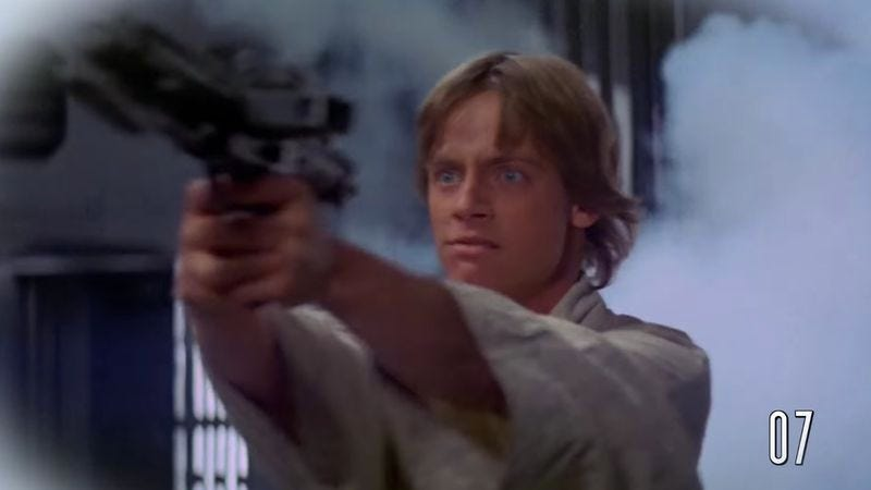 Illustration for article titled Nothing can sate Luke's bloodlust in this supercut of all of Skywalker's kills