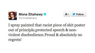 Illustration for article titled Mona Eltahawy Has No Regrets About Spray Painting Over That 'Racist Piece of Shit' Subway Advertisement