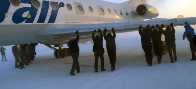Illustration for article titled If Your Plane Is Frozen To The Ground, Just Push It