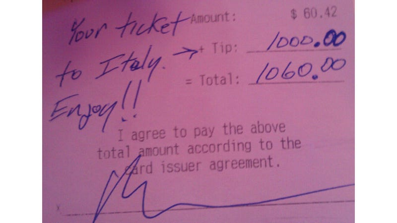 Illustration for article titled Guy Leaves $1000 Tip So Server Can Take Her Dream Trip to Italy