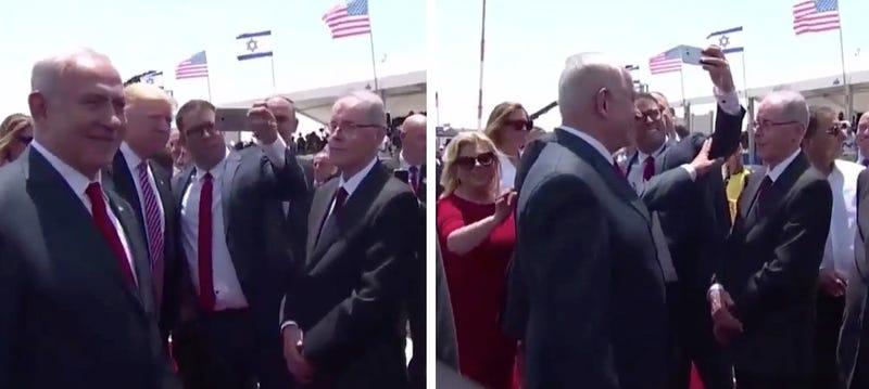 Israeli politician Oren Hazan tries to take a selfie with US President Donald Trump (left) and Israeli Prime Minister Benjamin Netanyahu tries to push Hazan away (right)