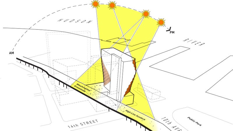 Illustration for article titled How a Slanted Skyscraper Will Share Sunshine With the High Line