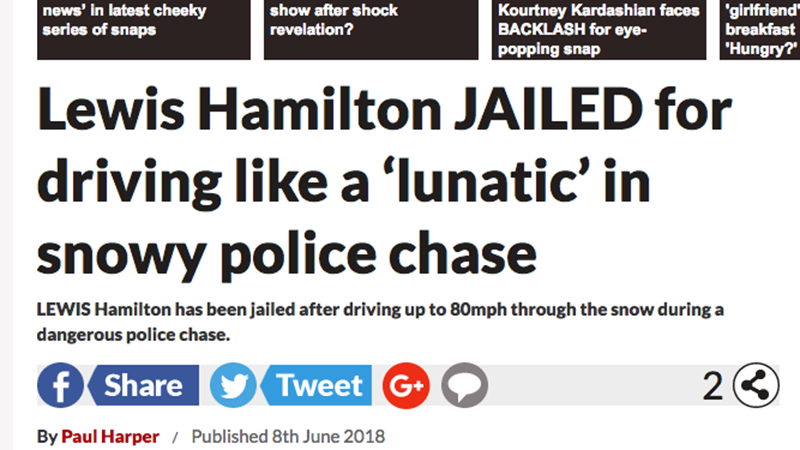 Illustration for article titled UK Tabloid Publishes Headline On 'Lewis Hamilton' Police Chase But Omits Important Detail: It's Not The F1 Driver