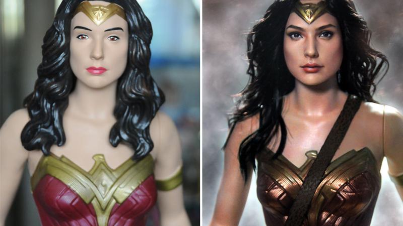 Illustration for article titled Así queda una figura de Wonder Woman de 20 dólares después de que un experto la retoque