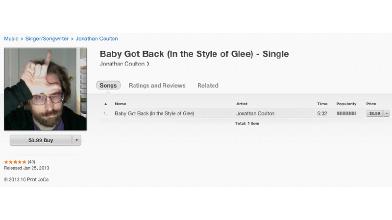 Illustration for article titled Jonathan Coulton 'Covers' Glee's Ripoff of 'Baby Got Back,' Puts It on iTunes, Proceeds Go to Charity