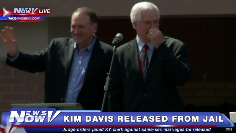 Illustration for article titled Unclear on How Jail Works, Huckabee Offers to Go in Kim Davis's Place