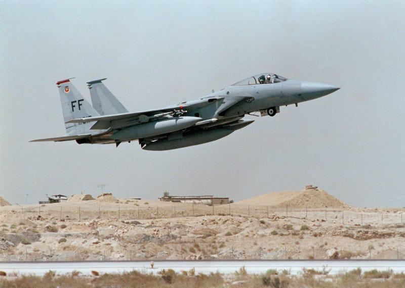 U.S. F-15 Jet Fighter takes off in Saudi Arabia during Operation Desert Shield, in an undated photo. (AP Photo/Scott Applewhite)