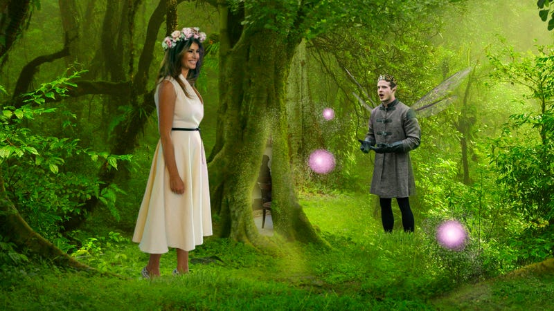 Illustration for article titled 'Please, Melania, Don't Leave Us!' Pleads King Of Wooded Faerie Realm As First Lady Climbs Back Into Tree Hollow