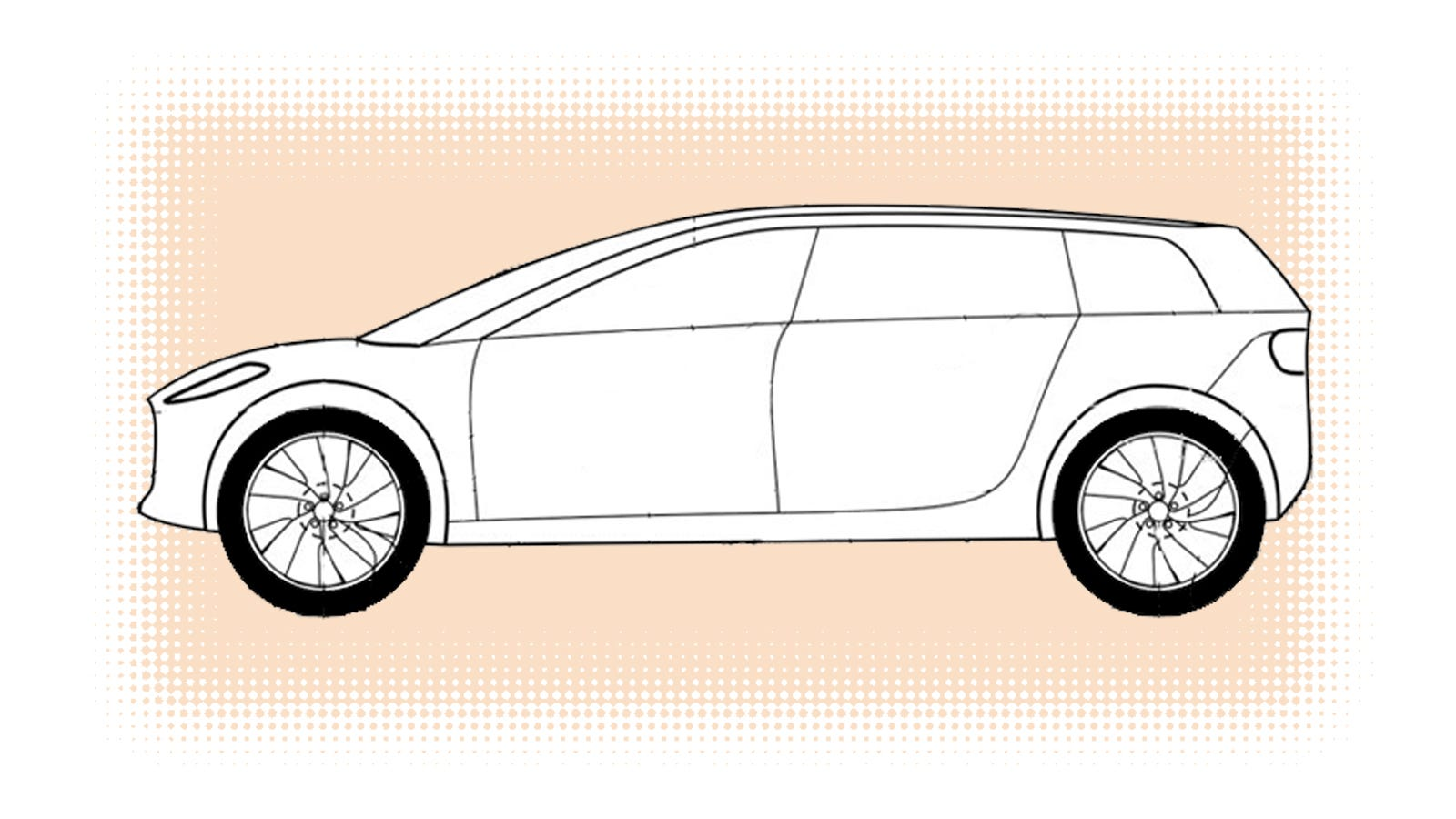 This patent sketch of the dyson car has three rows and a lot of ride height