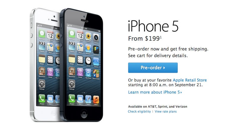 Illustration for article titled You Can Pre-Order the iPhone 5 Right Now