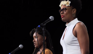 "Crystal Valentine and Aaliyah Jihad reciting ""To Be Black and Woman and Alive""YouTube screenshot"