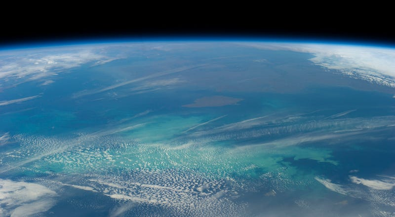 A phytoplankton bloom in the Bering Sea, as seen from the International Space Station. Image: NASA Earth Observatory
