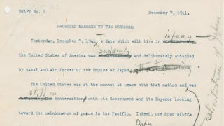 """Illustration for article titled Check Out The Crucial Changes FDR Made To His """"Day Of Infamy"""" Speech"""