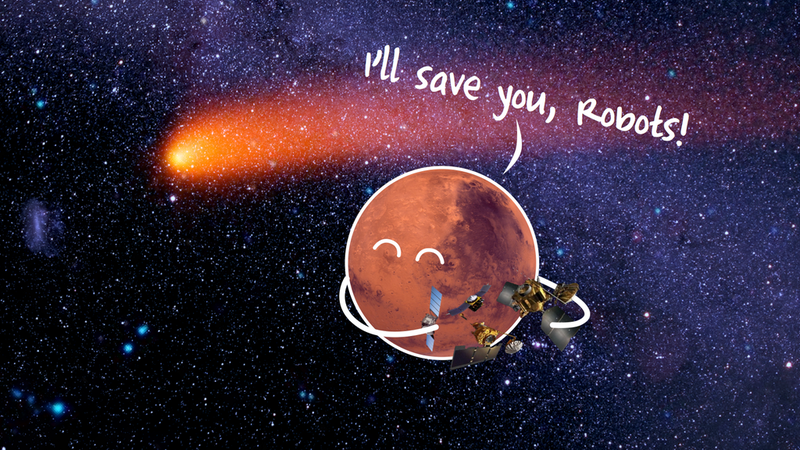 Illustration for article titled Martian Robots Brace For Close Encounter With Comet Siding Spring