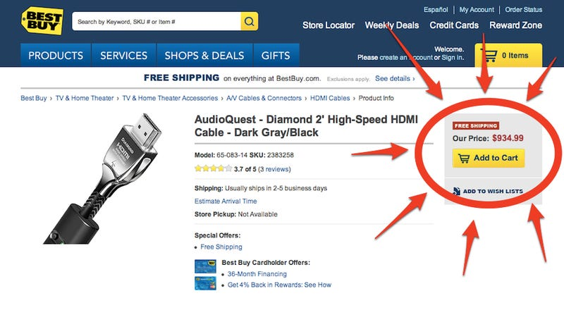 Illustration for article titled Best Buy Wants You to Spend $1000 on a HDMI Cable