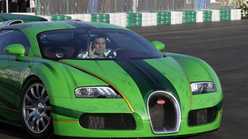 Illustration for article titled Turkmenistan's President Drives This Awesome Patriotic Green Bugatti