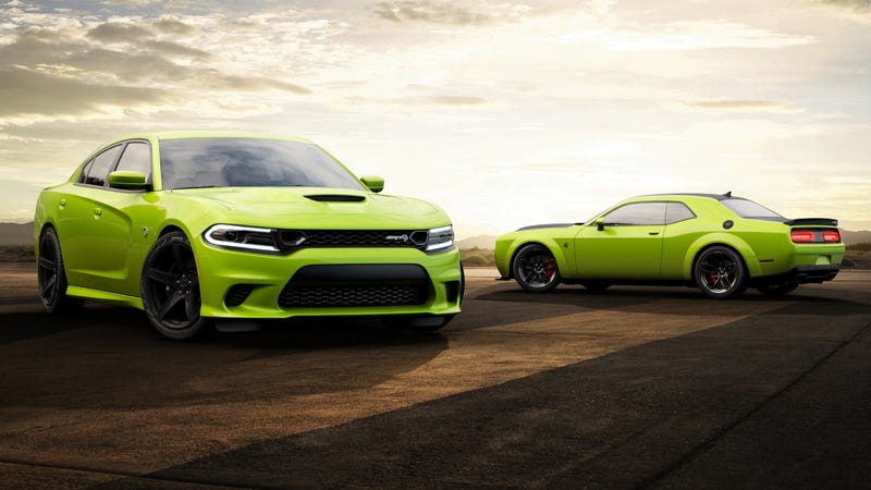 Illustration for article titled The 2019 Dodge Challenger and Charger Will Bring Hope to Our Grayscale Streets in Lime Green