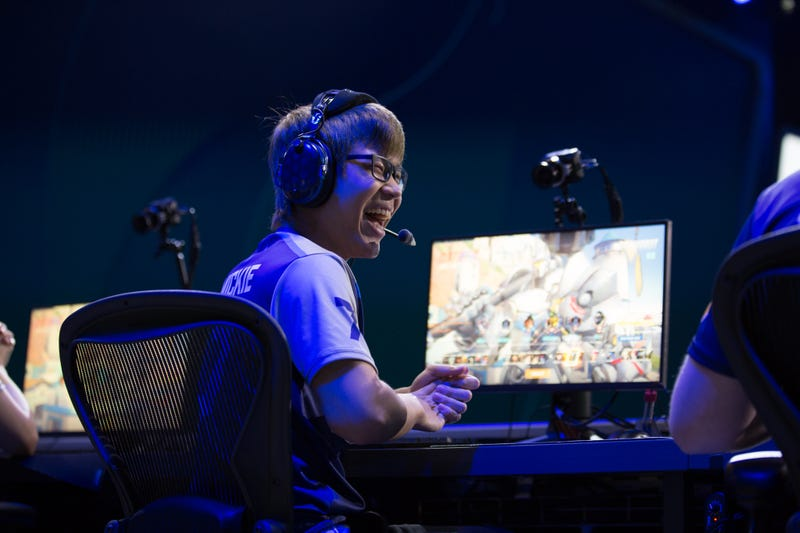 Dallas Fuel's Mickie selecting a hero. Credit: Robert Paul for Blizzard Entertainment