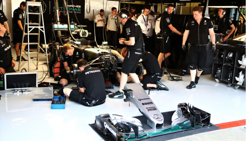 The garage of Lewis Hamilton's Mercedes AMG F1 team at the Spanish Grand Prix. Photo credit: Clive Mason/Getty Images