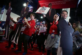 Members of Turning Point USA dance with a cardboard cutout of Republican presidential candidate Sen. Marco Rubio during the Conservative Political Action Conference in National Harbor, Md., on March 3, 2016.Alex Wong/Getty Images